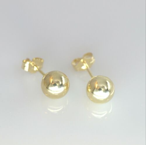 Pair Ball Stud Earrings Genuine 14k yellow gold GF sizes 3mm to 8 mm Hallmarks