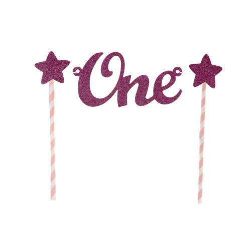 Baby 1st Birthday Cake Topper One Letter Cake Flag Straws Baby Shower DecorFT