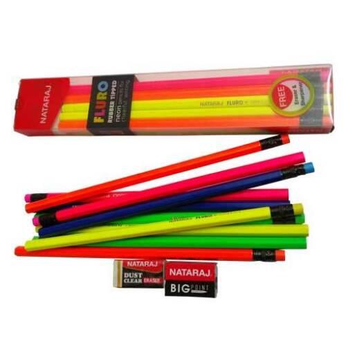 2 eraser 20x Nataraj FLURO Rubber Tipped NEON Pencil free 2 sharpener