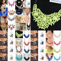 Fashion Women's Crystal Bib Pendant Choker Chain Statement Necklace Jewelry Gift