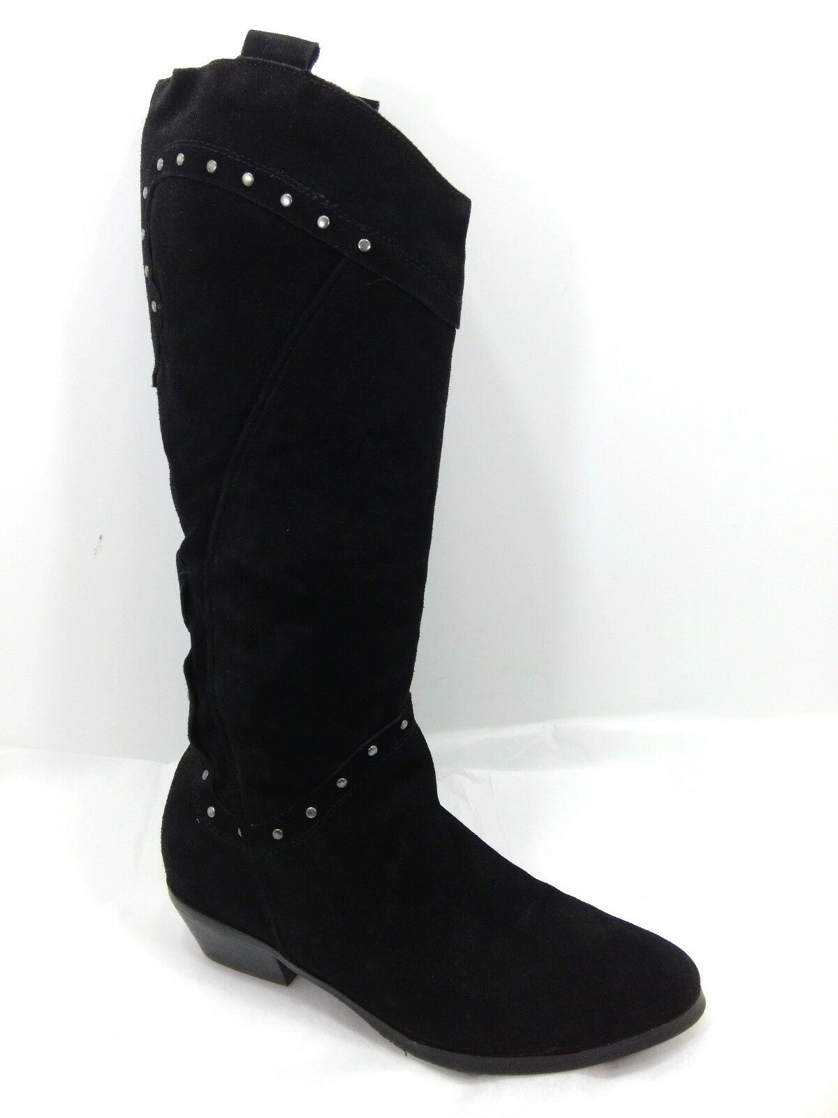 Women's Reba Boots Knee High Black Suede Leather Studs Sz 6.5 M