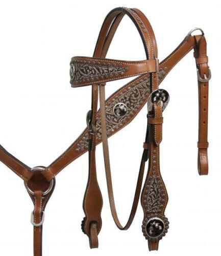 Showman Leather Horse Bridle Reins Breast Collar Filigree Crossed Guns Pistols