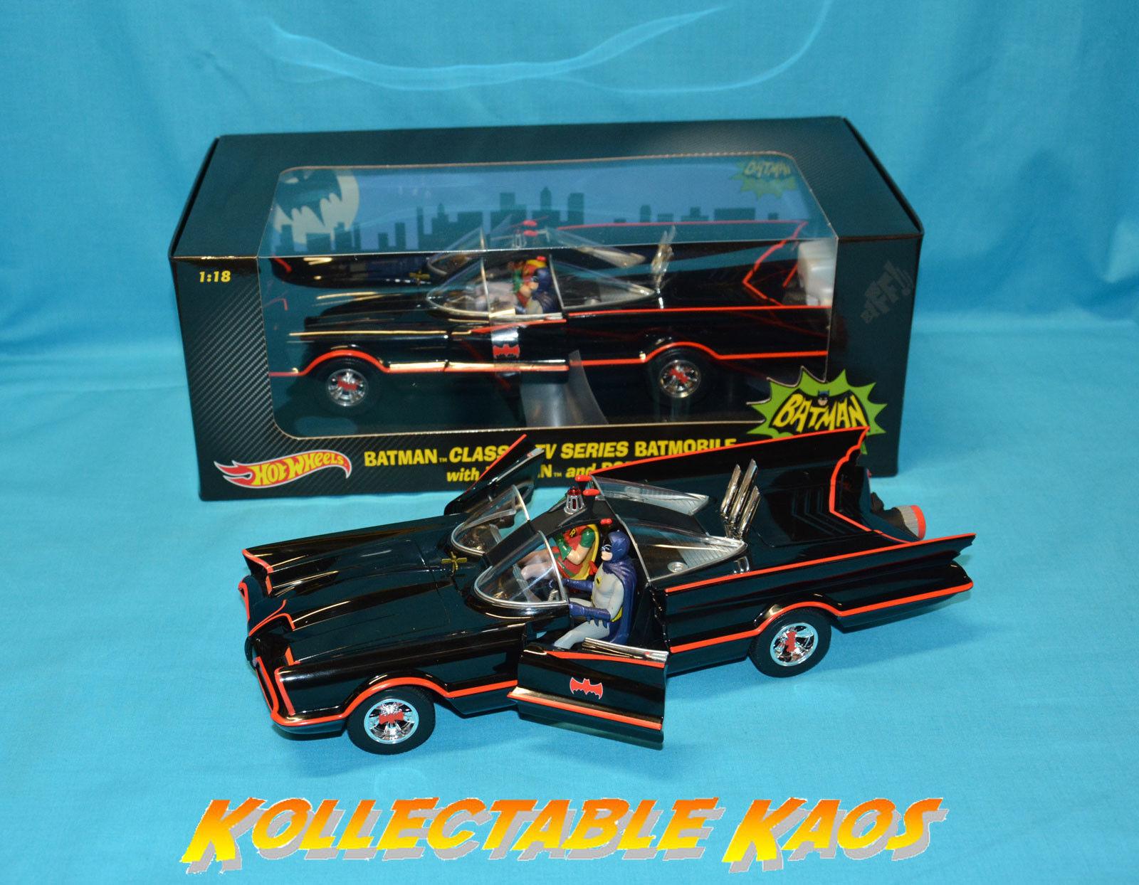Hotwheels - 1 18 Batman 1966 TV Series Batmobile with Figures NEW - DJJ39