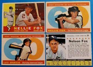 Vintage 1960 Old Topps Baseball Cards 4-card White Sox HOF Lot *Nellie Fox*
