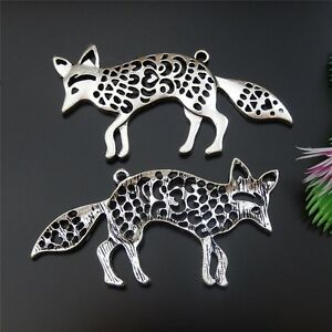51650-Antique-Silver-Cute-Animal-Fox-Alloy-Charms-Pendants-Jewelry-Crafts-10pcs