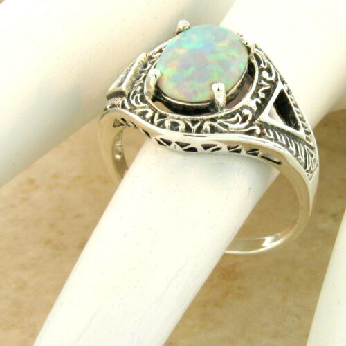 VICTORIAN 925 STERLING SILVER ANTIQUE STYLE CABOCHON OPAL RING SIZE 10 #1107