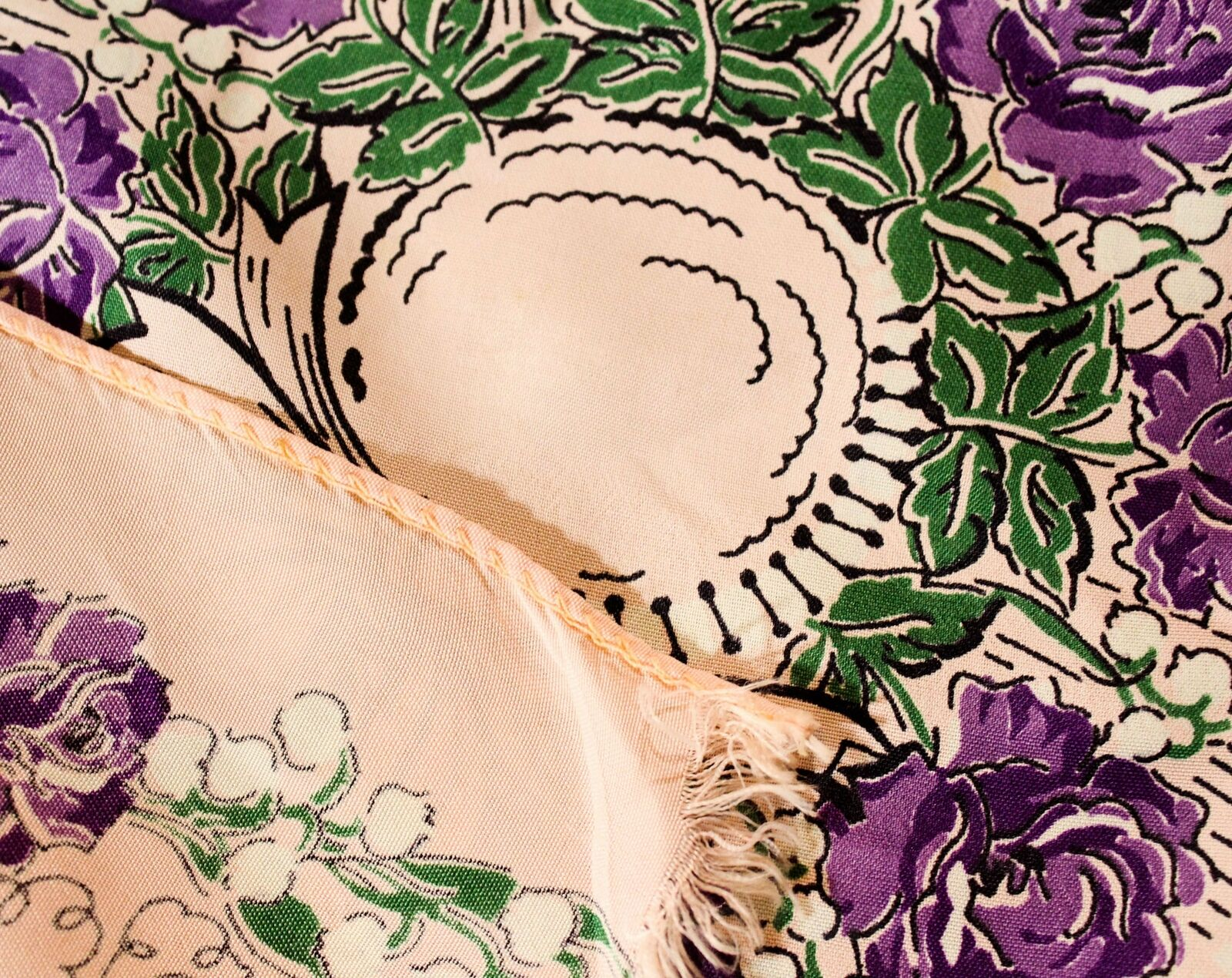 1940s Easter Bonnet Rayon Scarf - Purple & Pink R… - image 5