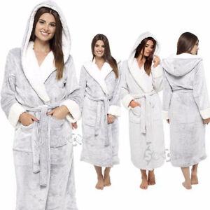 Image is loading Ladies-Super-Soft-Shimmer-Fleece-Robe-Plush-Hooded- 92498d8cd