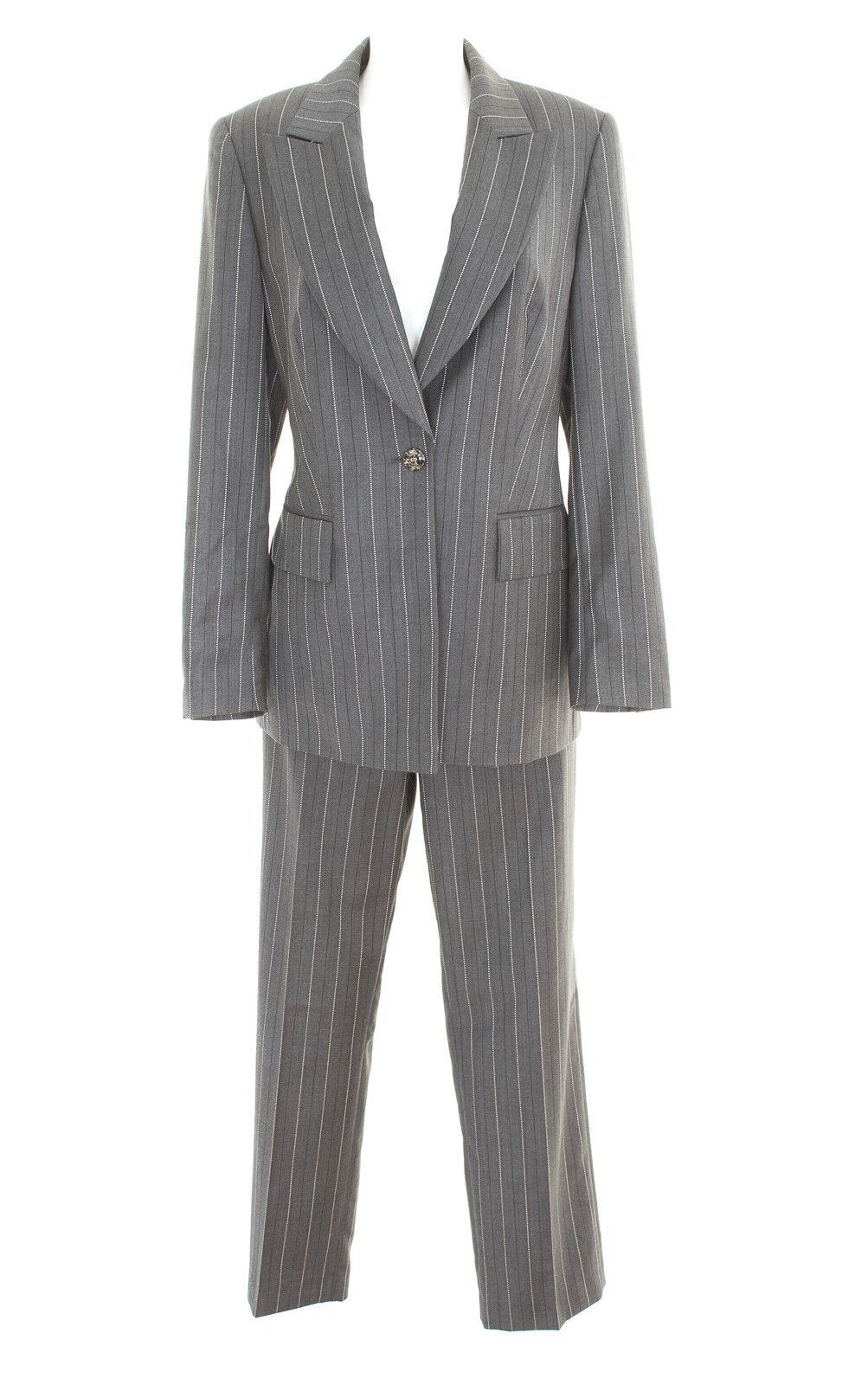 Escada Pantaloni vestito Taglia de 40 Blazer da Donna Pantaloni business suit GRIGIO BIANCO LANA SETA