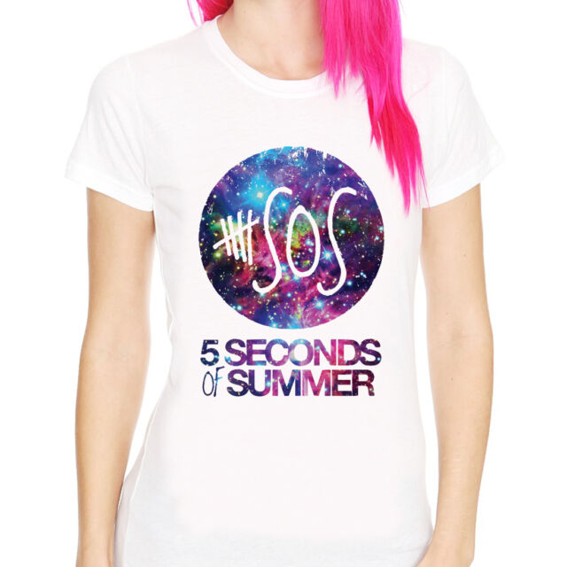 5 Seconds of Summer-Galaxy 5SOS band indie punk rock women white t-shirt