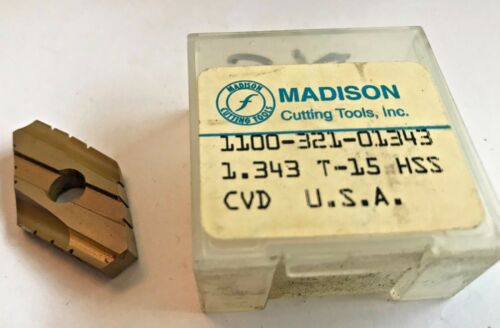"NEW! MADISON CUTTING TOOLS Duodex Spade Indexable Inserts 1.343/"" T-15 HSS CVD"