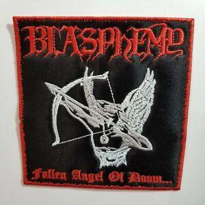 Blasphemy  fallen angel of doom red border EMBROIDERED  PATCH
