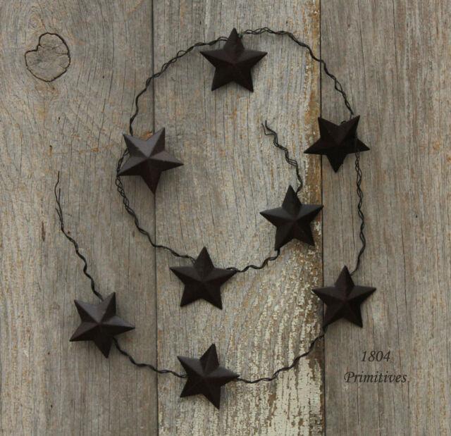 """33"""" Barn Star GARLAND ~ Primtive Rusty Tin Look"""