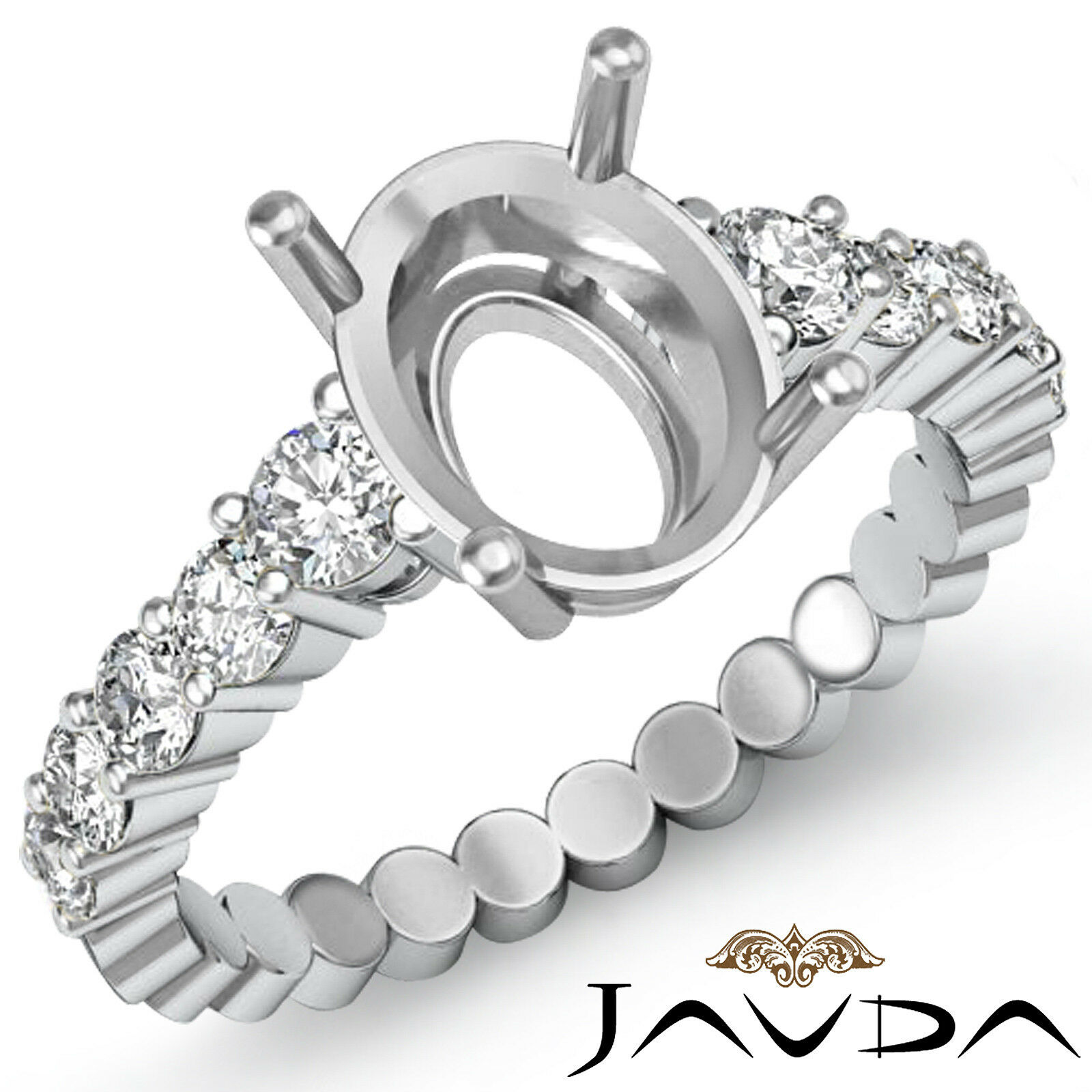 Diamond Engagement Oval Semi Mount Shared Prong Set women's Ring Platinum 0.70Ct