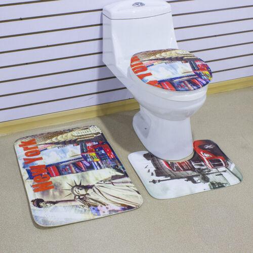 3 Pieces Non-Slip Bathroom Pedestal Lid Mat Pad Toilet Rug Set New York