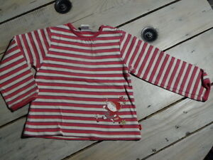 T-shirt-manches-longues-raye-blanc-fuchsia-violet-CADET-ROUSSELLE-Taille-4-ans