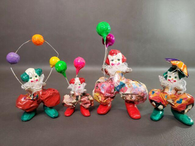 Vintage Creepy Clowns- Paper Mache Bodies Horror Scary Porcelain Faces Lot of 4