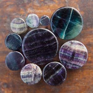 Pair-of-Rainbow-Fluorite-Stone-Plugs-Double-Flared-ear-lobe-2g-to-1-034-10-sizes
