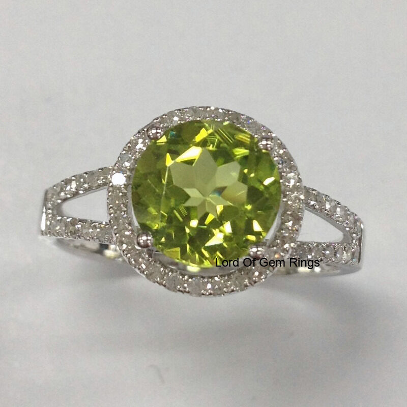 Peridot Engagement Promise Ring,Round Cut 8mm,Halo .35ct Diamonds 14K White gold