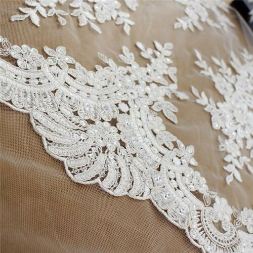 Embroidery Corded Bridal Dress Lace Fabric Ivory Blossom Wedding Gown Tulle 1 Y