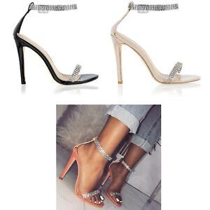 Chaussures Mesdames Talon Womens Fête Soirée Sandales Stiletto Simplement Strass qACBzan7