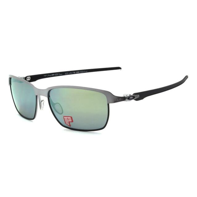 b33c29bab96 Oakley OO 6018-04 POLARIZED TINFOIL CARBON Lead Matte Black Emerald  Sunglasses