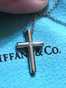 Tiffany co solid 18k white gold cross pendant w diamond 16 image is loading tiffany amp co solid 18k white gold cross aloadofball Image collections