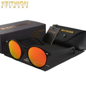 KEITHION-New-Vintage-Round-Polarized-Sunglasses-Mens-Womens-Mirror-Retro-Eyewear