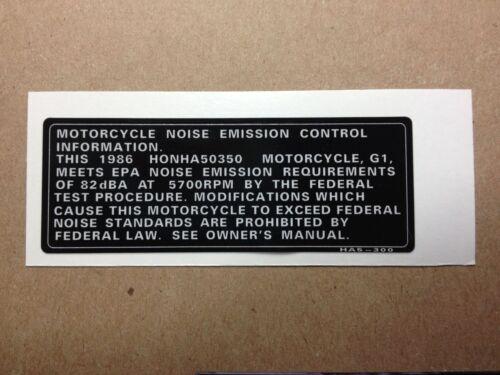 86 ATC 350X Frame Emission decal HA5 Vintage Repro ATC 350X ATC350X