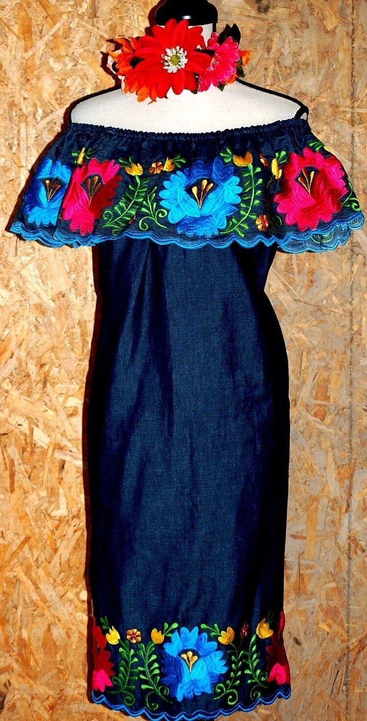 5 De Mayo mexicain Denim Robe Off épaule Longu Genou Broderie Florale Vintage 3X
