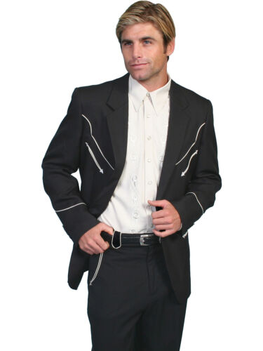 1960s Mens Suits | Mod, Skinny, Nehru   Scully Mens Western Black Polyester Button Front Blazer w/ Piping $130.99 AT vintagedancer.com