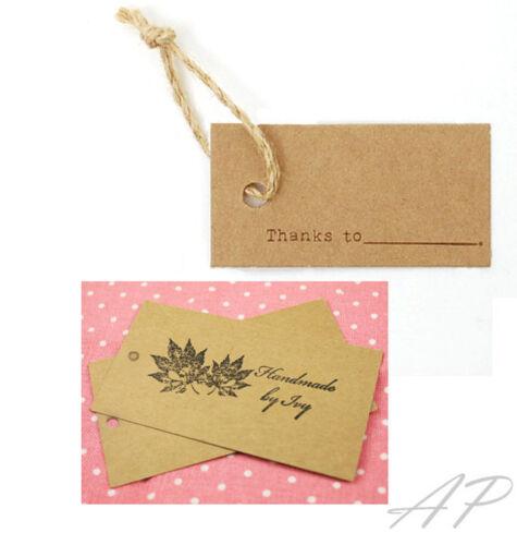 100 pcs of Blank Design Brown Kraft Paper Card Hang Tag 30mm X 50mm