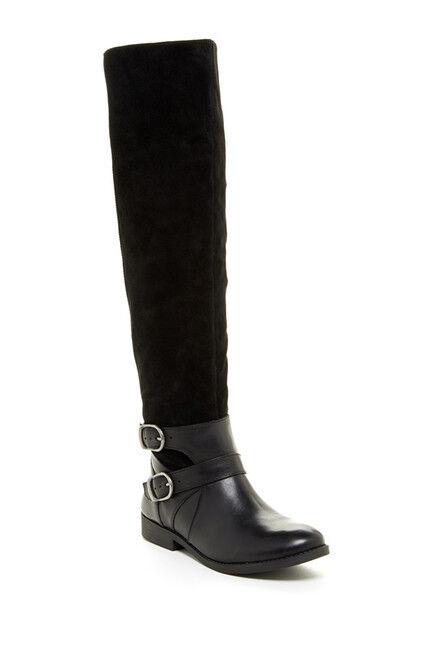 Lucky Brand  Zosha  Alto Negro De De De Cuero Y Gamuza sedoso, botas de montar, el aclaramiento  sin mínimo