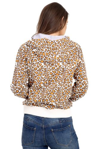 Womens Leopard Animal Print Zip up Hooded Long Sleeve with Pocket Hoodie S-XL