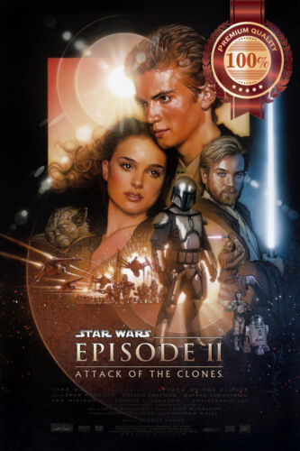ATTACK OF THE CLONES STAR WARS EP 2 CINEMA MOVIE FILM PRINT PREMIUM POSTER