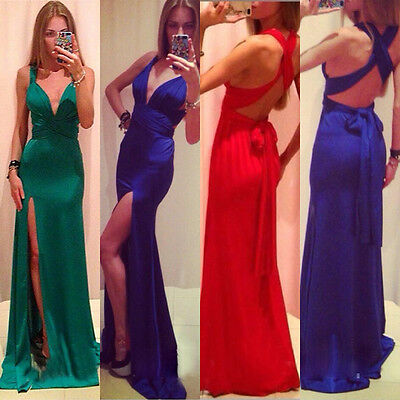Sexy Formal Wedding Mermaid Gown Ball Split Party Cocktail Evening Long Dress