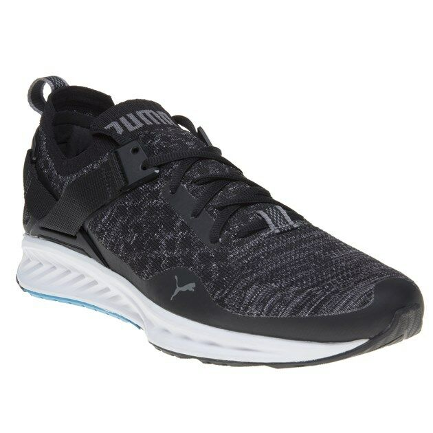 New Mens Puma Black IGNITE evoKNIT Lo Textile Trainers Running Style Lace Up