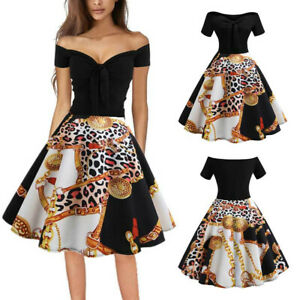 Women-Vintage-1950s-Retro-Off-Shoulder-Printing-Evening-Party-Prom-Swing-Dress