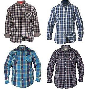 Mens-Big-Size-Shirt-Branded-D555-Check-Long-Sleeve-Shirts-Plus-Size-XL-6XL