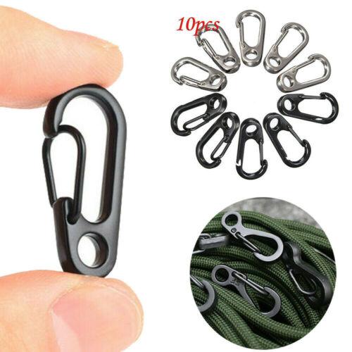 10Pcs EDC Gear Mini Snap Spring Clip Hook Carabiner Outdoor Survival Tool