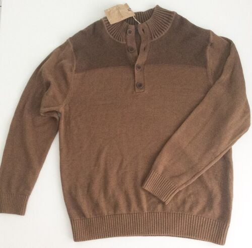 Men/'s Roundtree /& Yorke Knit Sweater Size L and XL Two tones of Brown 4 Button