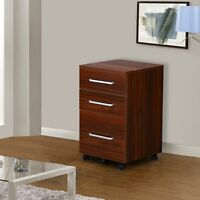 Office Mobile 3-drawer Wood File Cabinet 2colors Storage Business Furniture
