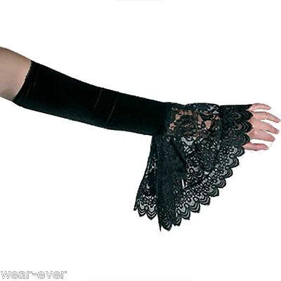 ARMSTULPEN gothic Samt Spitze Rüschen schwarz cosplay steampunk für Kostüm 1508