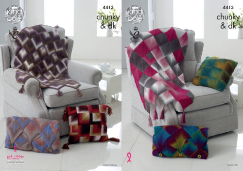 Diamond Throw /& Cushion Cover Knitting Pattern King Cole Double Knit Chunky 4413
