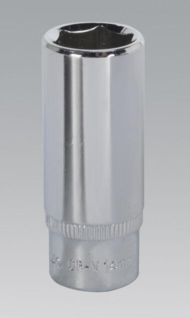 "Genuine SEALEY SP1414D WallDrive Socket 14mm Deep 1/4""Sq Drive Fully Polished"