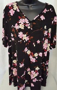 Jaclyn-Smith-Womens-Black-Brown-Pink-White-Floral-Shirt-Top-Blouse-Size-1X