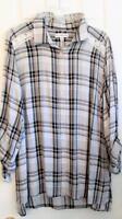 Kim Rogers Size Xl Black Plaid Lace Details Shirt Top