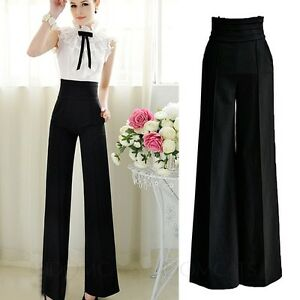 Womens Office Trousers High Waist Formal Ladies Slacks Palazzo Flare Pants Size | EBay