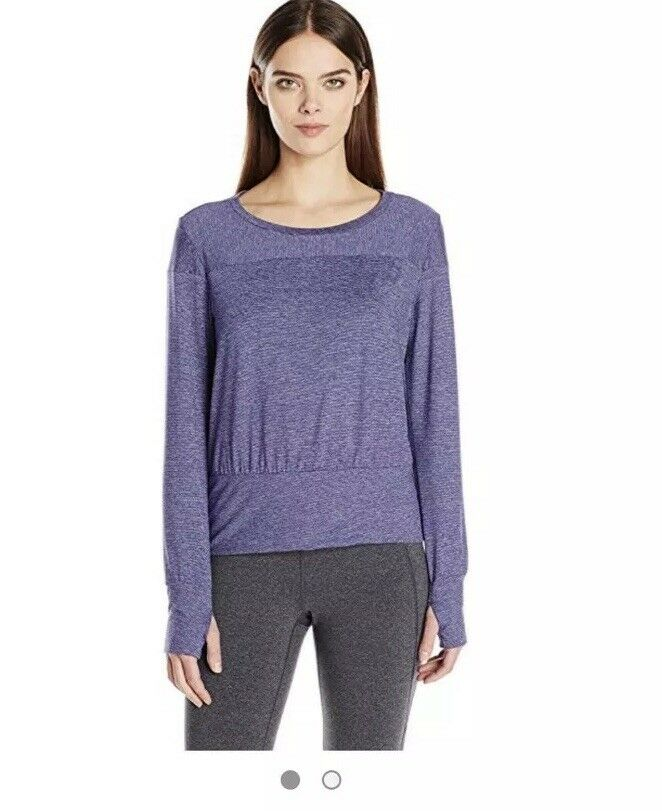 NWT Lucy Activewear TRANSCEND Top Large L Indigo Stripe Yoga Running Lounge