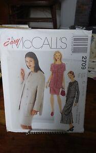 Oop-Mccalls-easy-2709-misses-summer-dress-amp-coat-unlined-2-lengths-sz-10-14-NEW